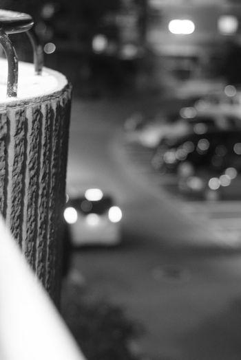 Black And White Defocused City Illuminated Close-up