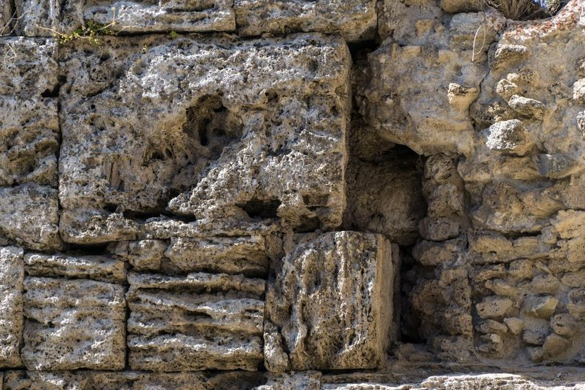 Paestum Roman ruins, Italy No People Full Frame Old Day Art And Craft Creativity Architecture Close-up Building Outdoors History Pattern The Past Backgrounds Craft Sculpture Built Structure Textured  Ancient Human Representation