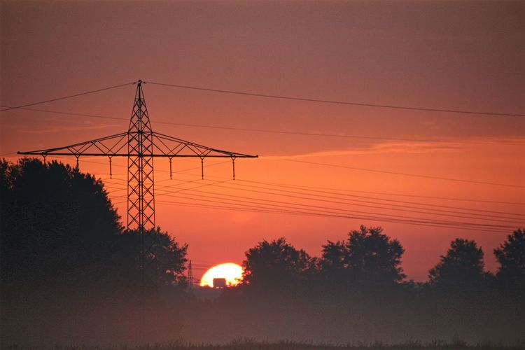 Golf Club Tree Technology Electricity Pylon Sunset Steel Industry Dawn Electricity  Silhouette
