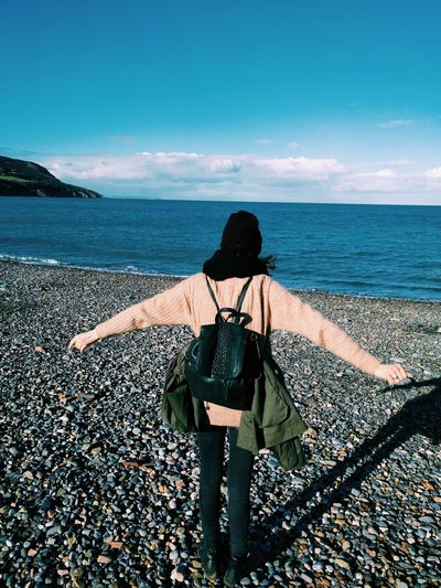 People Sky One Person Rear View Outdoors Day Beauty In Nature Girl Free Beach Seaside Free Openarms Sweater Backpacker Spring