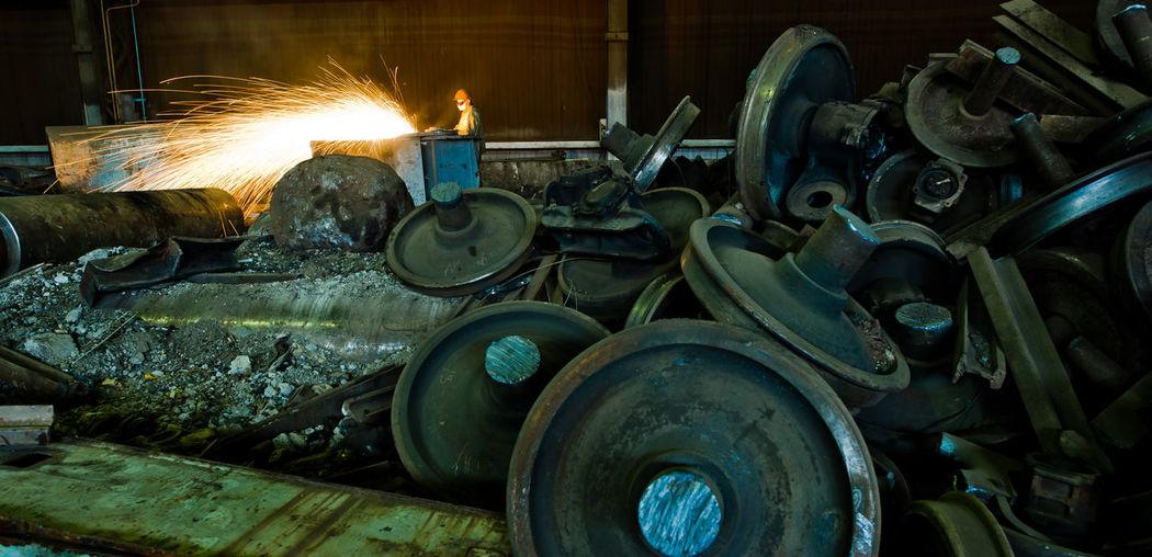 Old train wheels in factory