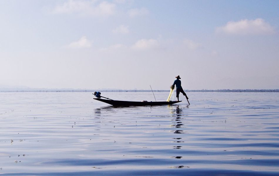 Myanmar Inle Lake Water Men Real People Nature Waterfront Occupation Fisherman Silhouette Horizon Over Water