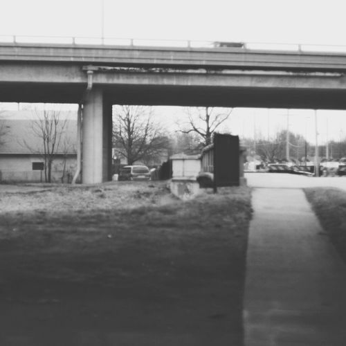 Built Structure No People Bridge Blackandwhite Transportation Outdoors Murky Minimalism Proffesional Wichita Kansas  Wichita Infp Infj Aesthetic BlackAesthetic Blackphotography Clear Sky Day Building Exterior Architecture Sky Tree Bus Stop First Eyeem Photo