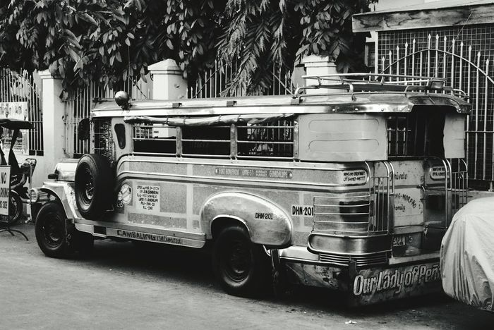 Jeepney Land Vehicle Street Mode Of Transport Transportation Outdoors Old-fashioned No People Tree Day