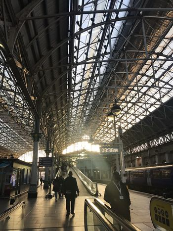 Architecture Train Station Manchester Chester Myownway 2017 Travel Uk Light Beam Morning Light Lonely Walk October 2017