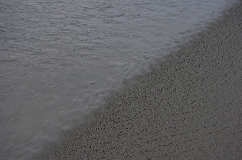 High angle view of sand at beach