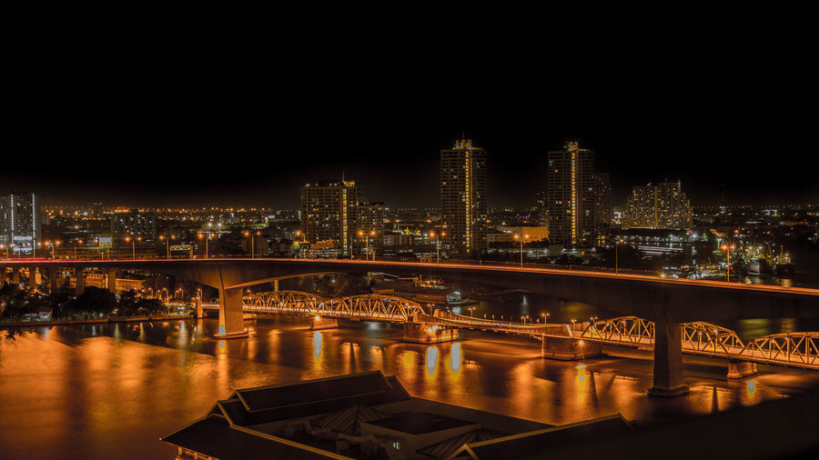 Bangkok, Thailand Bridge Over Water Chao Phaya River Chao Phraya HDR Hdr_Collection Night Lights Nightphotography River View Riverside Skyline Architecture Bridge Building Exterior Built Structure City Cityscape First Eyeem Photo Night No People Reflection River Skyscraper Urban Urban Skyline Water