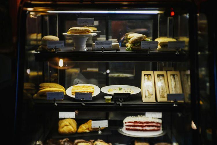 Food on display cabinet