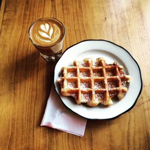 Breakfast of champions this morning at Everyman Espresso on July 17, 2015 in New York City. #breakfast #coffee #waffle