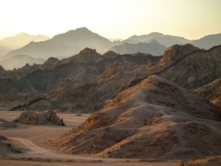 The KIOMI Collection Egypt Sinai Mountains Barren Desert No People Day Dusk Evening Sand Dry Dead Wasteland Empty Hills Peaks Sillouette Horizontal Colour Image World Travel Africa Sunny The Great Outdoors With Adobe Mountainscape
