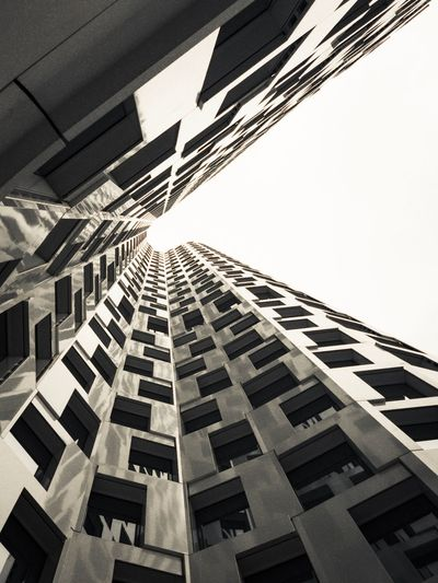 LOOK UP Architecture Built Structure Building Exterior Low Angle View Sky No People Building Day City Pattern Window Clear Sky Outdoors Tall - High Directly Below Modern