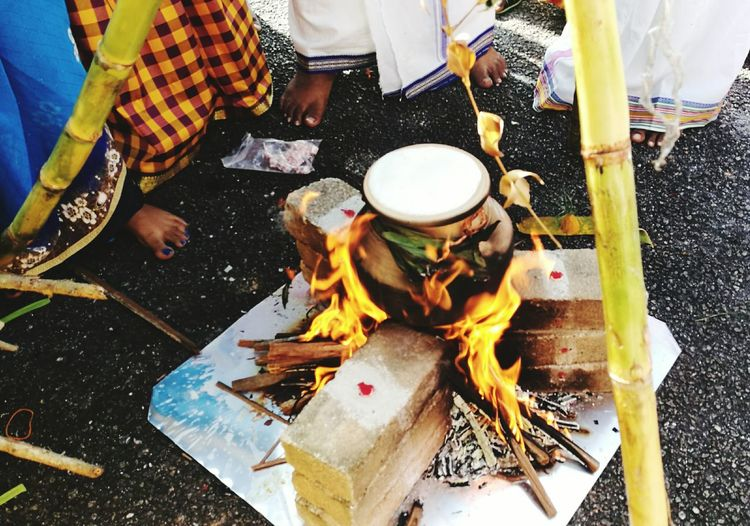 Carnival Crowds And Details harvest festival ponggal hindus celebrations milk rice cooking feet Real People Flame Outdoors Day Preparation  Men Food Malaysia Taiping Indian