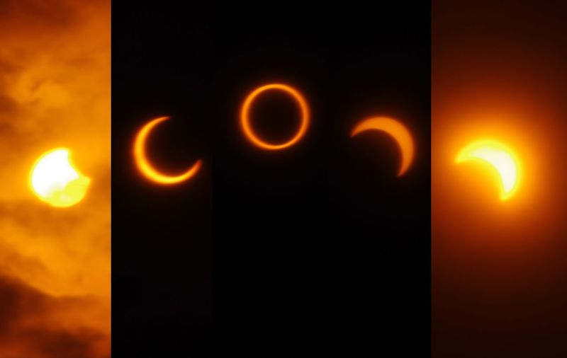 Annular Solar Eclipse 21 May 2012 in Tokyo Astronomy Solar Eclipse Nature Sun Eclipse Annular Solar Eclipse Annular Eclipse Ring Orange Color Beauty In Nature Sequence Edited Space Day Mystical