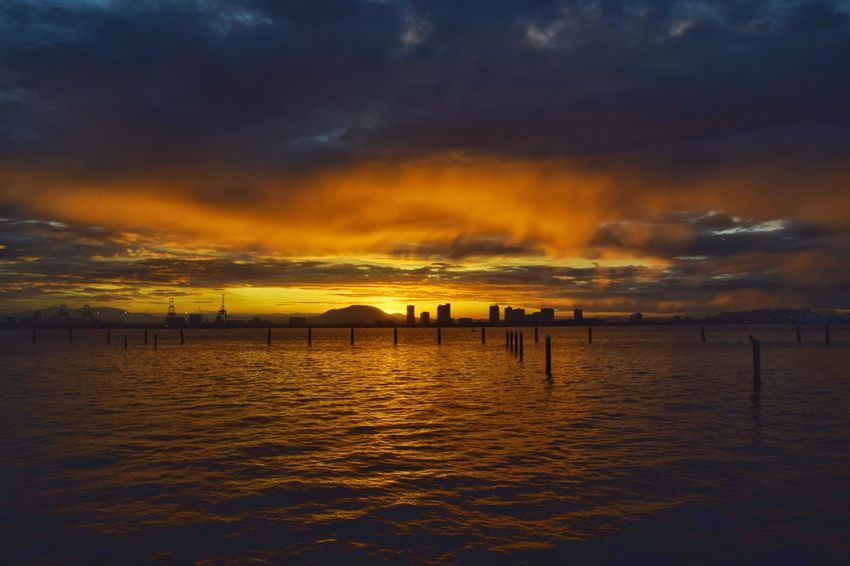 Colours of dawn Weld Quay waterfront, George Town, Penang, Malaysia. Horizon Coastline Sunrise Dawn Morning Light New Day Water Sea Beach Multi Colored Beauty Low Tide Silhouette Reflection Summer