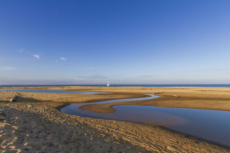 Morning sandy beach at laem ta chi cape, yaring district, pattani, thailand
