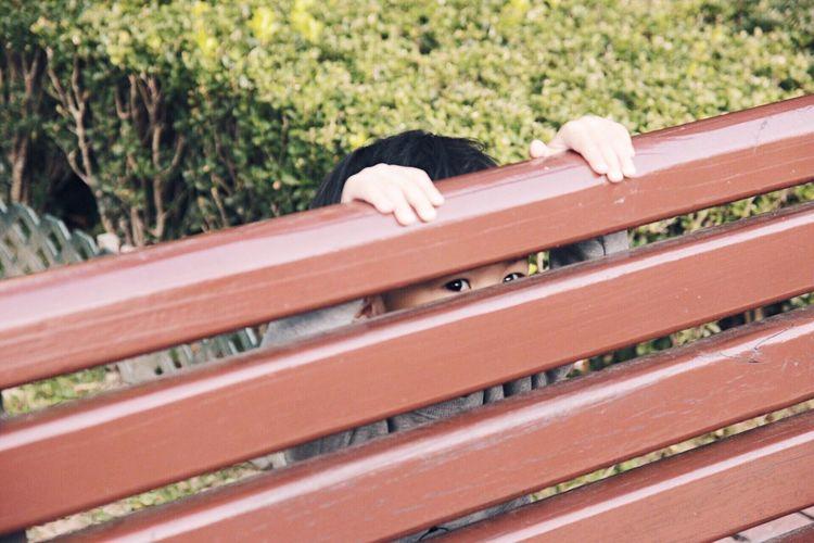 Human Body Part One Person Bench Kids Child Childhood Kid Boy Eyes Peekaboo Peek Playing Hide And Seek Hide Children Photography Children Fun
