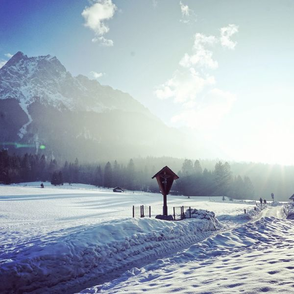 Waxenstein Snow Winter Cold Temperature Outdoors Nature Day Sky Mountain Snowing