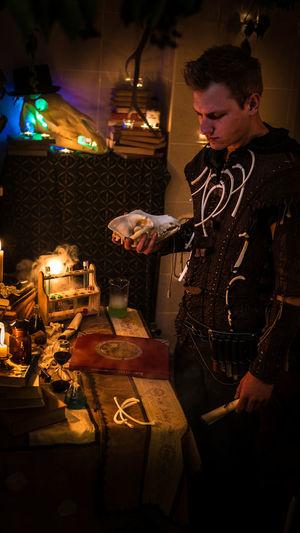 Fnatasy warlock photoshoot Cosplay Dark Fantasy Edits Panasonic  Warlock  Fantasy Fire Horse Illuminated Indoors  Lair Lumix Night Potion Skull Standing