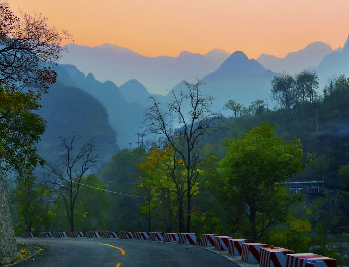 China Countryside Landscape Lights Mountains Sunset