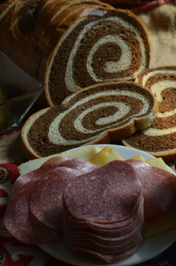 salami and cheese with marble rye bread for sandwich Bread Cheese Close-up Detail Focus On Foreground No People Salami Sandwich Sandwiches Selective Focus Spiral