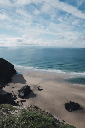 Cornwall, UK Beach Beach Day Beauty In Nature Bedruthan Steps Cloud - Sky Cornwall Day Horizon Horizon Over Water Idyllic Land Little People Nature Non-urban Scene Outdoors People On Beach Person On Beach Sand Scenics - Nature Sea Sky Tiny People Tranquil Scene Tranquility Water