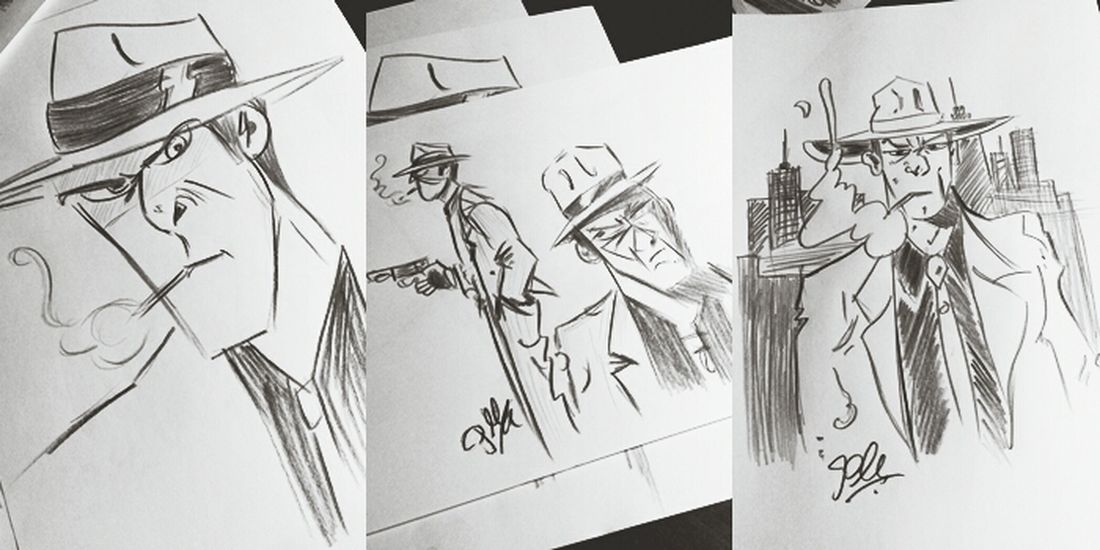 The study of gangsters, 2013 Illustration Sketching Drawing Art My Work My Art Concept Gangster Gangstersquad Man Dangerous Inspirations Comic Cartoon