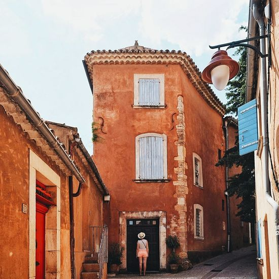Architecture Building Exterior Built Structure City City City Life Cityscape Day France Full Length One Man Only One Person Outdoors People Provence Real People Roussillon Sky Street Streetphotography Vaucluse Village Village Life Village Photography Village View