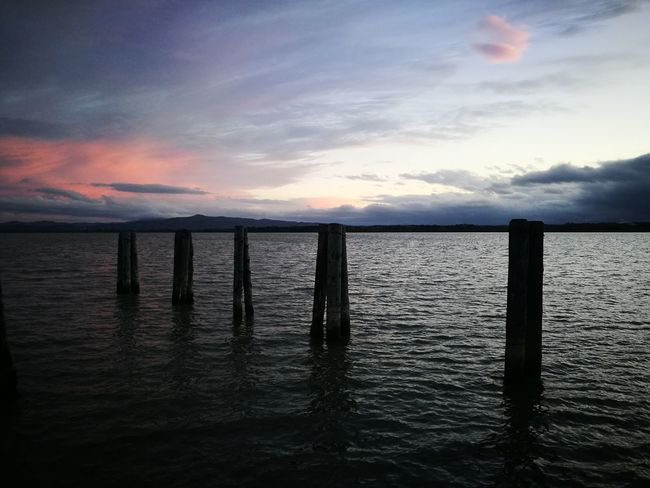 Water Cloud - Sky Sunset Outdoors Sky No People Horizon Over Water Scenics Nature Day Lake Lake View Symmetry Pier Woods
