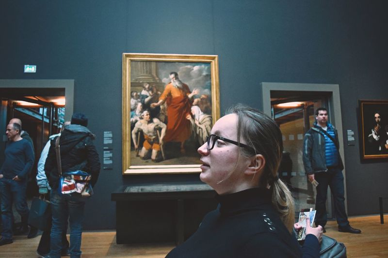 Art Art Gallery People Sitting Indoors  Museum Amsterdam Netherlands Picture Painting Showcase March