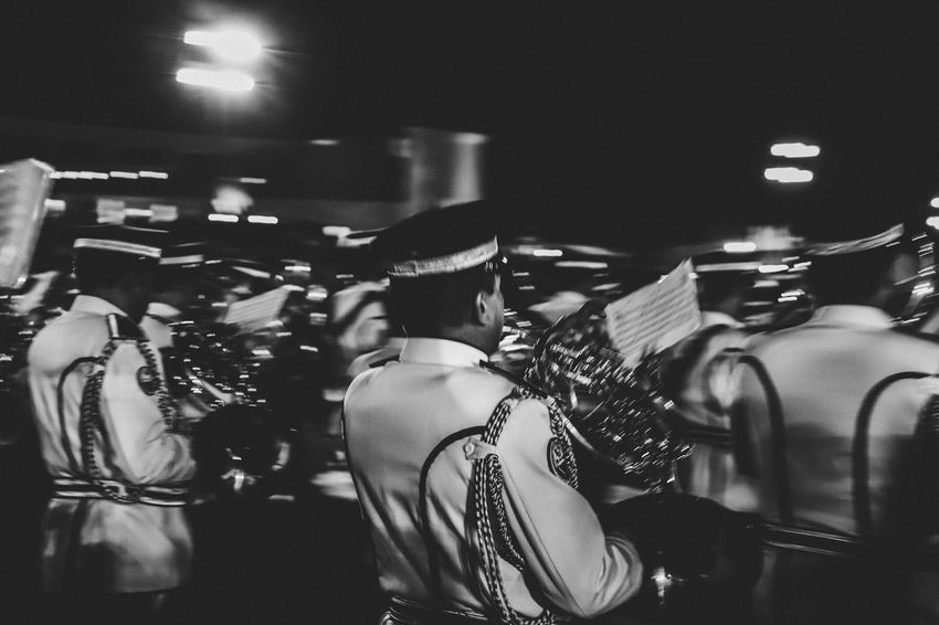 The marching rhythm Music Instrument Walking Blackandwhite Blurred Motion Marching Band Real People Night Men Group Of People Arts Culture And Entertainment Music Illuminated Indoors  Musician Occupation Artist Performance People Musical Instrument Crowd Event Lifestyles Skill  Leisure Activity