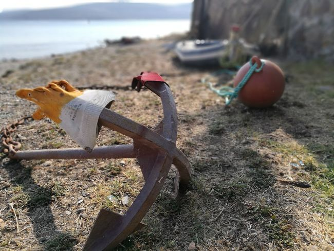 Anchor outof sea SumerEnd Anchor Bay Beach Day Focus On Foreground Metal Nature No People Outdoors Rusty Sand Sea Seaside Sumertime Summer Water