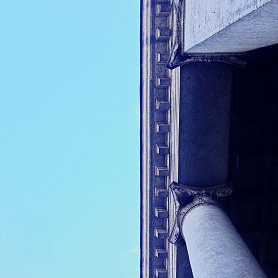 Minimalism Sky Blue Blue Sky Grey Lookingup Roof Column Columns Museum Blue Wave