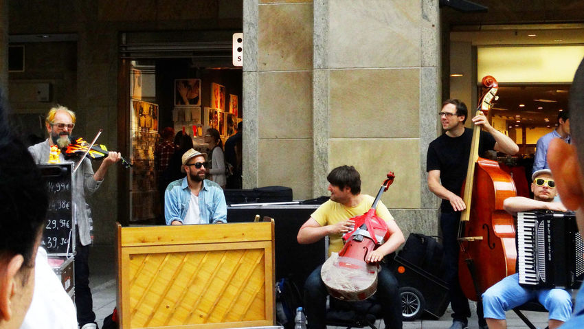 Summer In The City Adult Artist Arts Culture And Entertainment Casual Clothing Child Group Group Of People Indoors  Medium Group Of People Men Music Musical Equipment Musical Instrument Musician People Performance Playing Real People Sitting Teenager Women