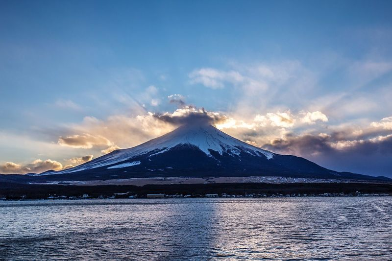 Sunset Mount FuJi Japan Japan Photography Mountain Snow Sky Cloud - Sky Water Scenics - Nature Winter Beauty In Nature Environment Lake