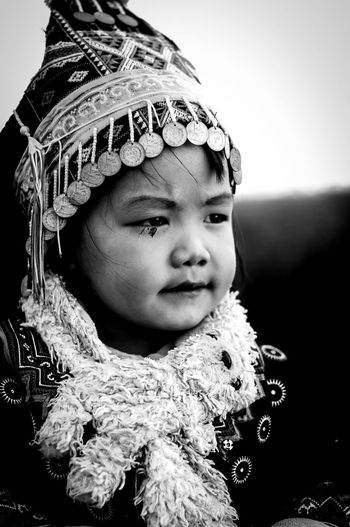 CHIANGRAI - APRIL 28 2017 : Kids at the mountain during early morning Chiang Rai, Thailand Chiangmai Baby Boys Child Childhood Close-up Clothing Cute Front View Headshot Indoors  Innocence Lifestyles Looking Looking Away Men Mouth Open One Person Portrait Real People Warm Clothing