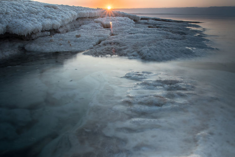 Sunset at the lowest point in the earth in the dead sea , where located in south of jordan