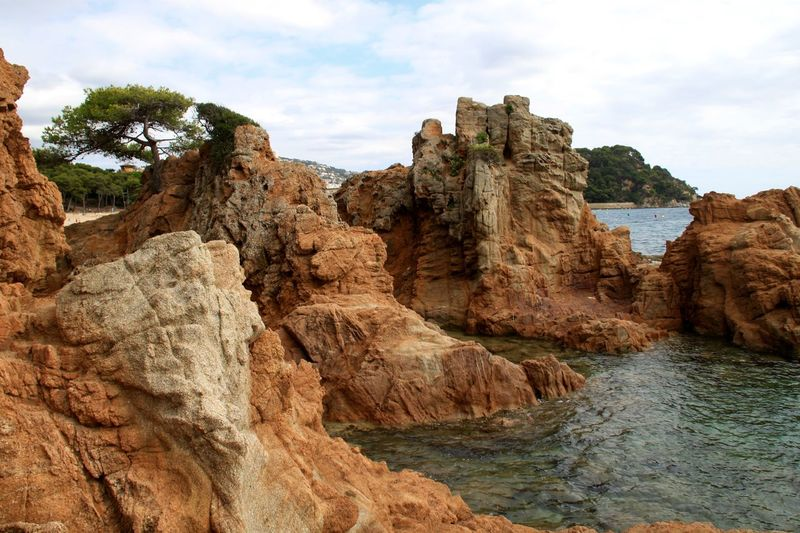 Lloret De Mar Mediterranean  Rocky Seashore Beauty In Nature Cliff Geology Landscape Lloretdemar Nature No People Physical Geography Platja De Fenals Rock - Object Rock Formation Scenics Sea Seaside Shore Tranquility Water
