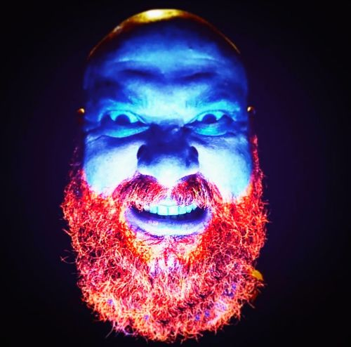 Blue And Red Colour People Adult Black Background Looking At Camera Human Face One Person Close-up Selfie ✌ Light And Shadow Lights Light Up Your Life Beard Readhead Beard