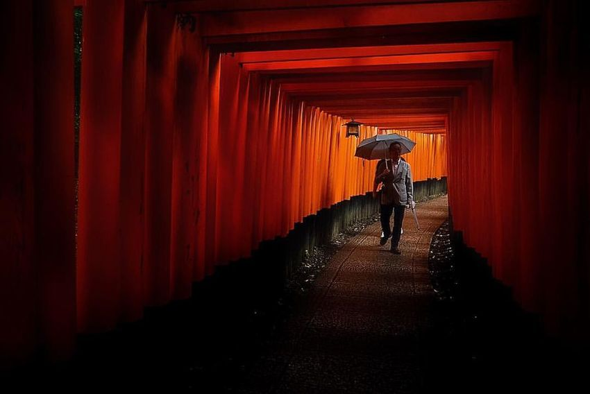 Culture Diminishing Perspective Full Length Japan Red Temple Tone Fine Art Photography