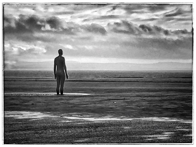 Rear View Full Length Water Men Sea Beach Tranquil Scene Cloud - Sky Calm Tranquility Relaxation Sky Shore Getting Away From It All Outdoors Mountain Solitude Day Remote
