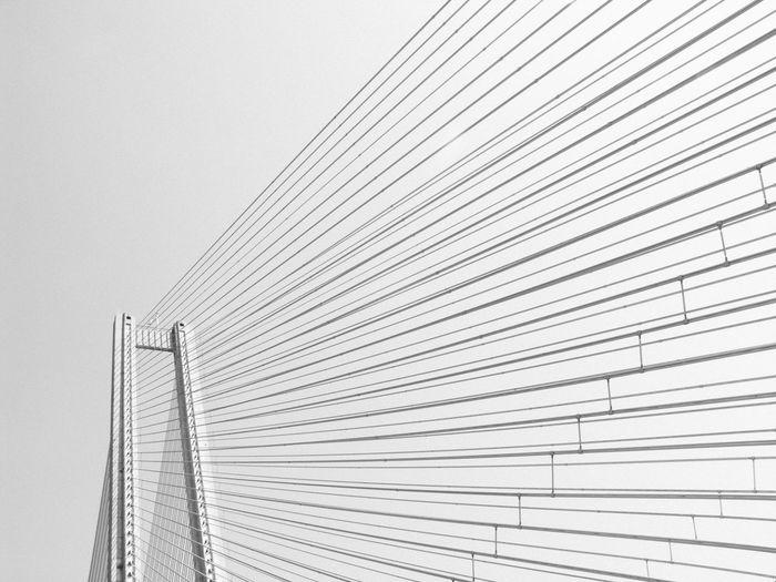 Suspension bridge against clear sky