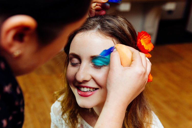 Birthday Party Bodyart Celebration Close-up Day Face Painting Facepaint Flower Focus On Foreground Happiness Headshot Indoors  Leisure Activity Lifestyles People Real People Smiling Togetherness Young Adult Young Women