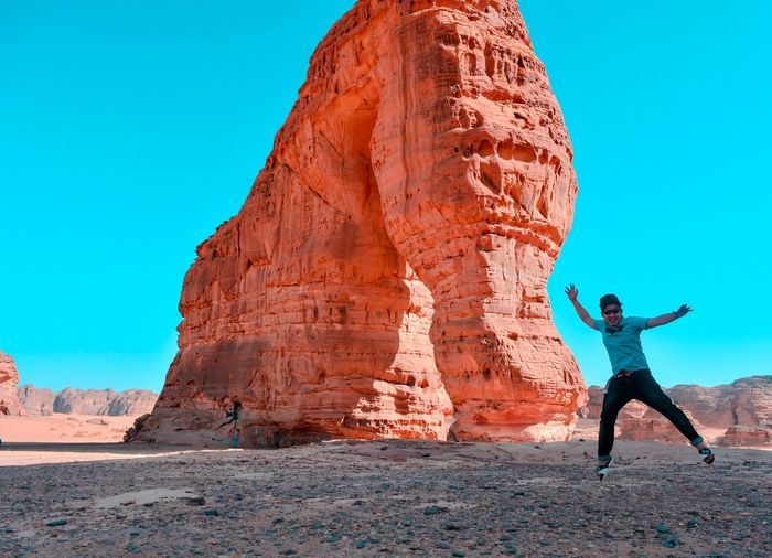 Jump with elephant rock Saudi Saudiarabia Yanbu_royal_comission Al Ula Sky Land Clear Sky Real People Rock One Person Nature Travel Destinations Travel Rock - Object Lifestyles Rock Formation Tourism