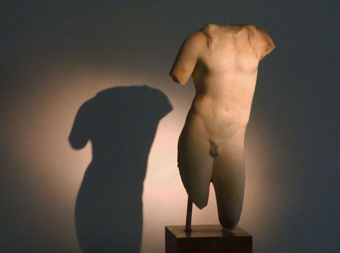 Sculpture Of Marble Representing Bacus - 2nd Century Ad - Archeology Museum Of Reus Adult Body Part Hairstyle Human Body Part Human Representation Indoors  Lifestyles Men People Real People Representation Shadow Shirtless Side View Standing Studio Shot Two People Wall - Building Feature Women