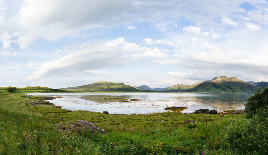 An iisle of mull scotland uk countryside scene with loch na keal and mountains