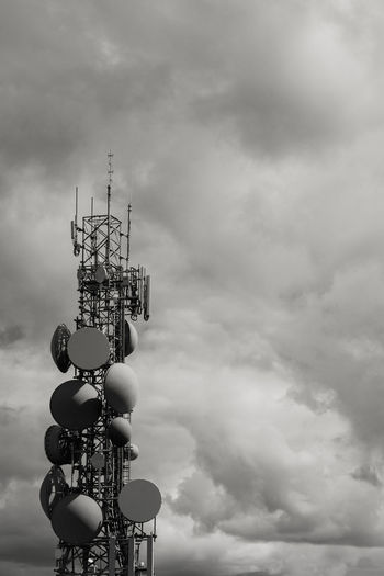 Communications Telecommunication Tower Mobile Tower Antenna Black And White Cellphone Tower Cloud - Sky Communication Communications Tower Global Communications Mobile Phone Tower No People Outdoors Technology TelecommunicationTower Telecommunications Tower Transmit Transmitter Wireless Technology