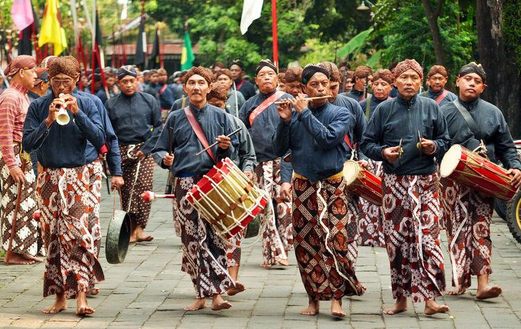 Yogyakarta Kraton Adult Celebration Crowd Full Length Men Military Uniform Parade Real People