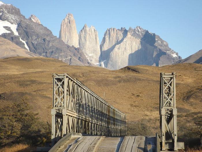 Bridge At Torres Del Paine National Park Against Sky