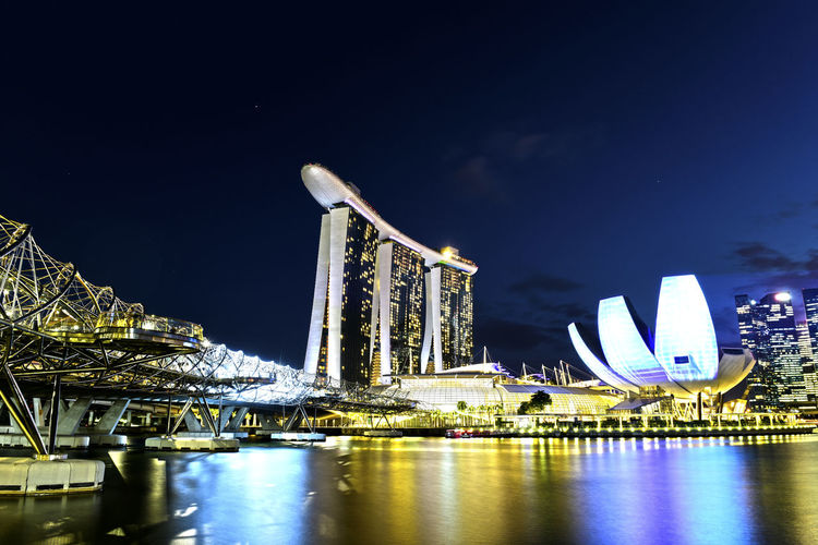 Night Architecture Building Exterior Sky Waterfront Illuminated Built Structure Water City Travel Destinations Skyscraper No People Office Building Exterior Building Arts Culture And Entertainment Reflection Nature Travel Luxury Modern Outdoors Cityscape Bay