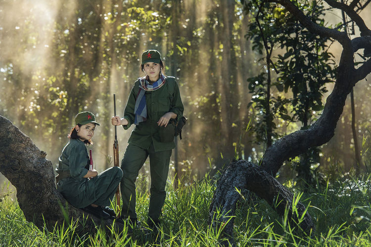Portrait Of Female Security Guards In Forest